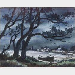 John Hare (American, 20th Century)  Beached Dory, Evening