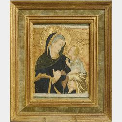 Italian Renaissance-style Painted Icon of the Madonna and Child