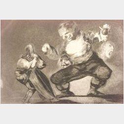 Francisco Jose de Goya y Lucientes (Spanish, 1746-1828)  Lot of Two Prints Including:   Tras el Vicio Viene el Fornico