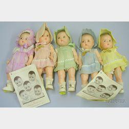 Set of Madame Alexander Dionne Quintuplet Dolls