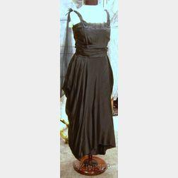 1940s Black Silk Satin Evening Gown