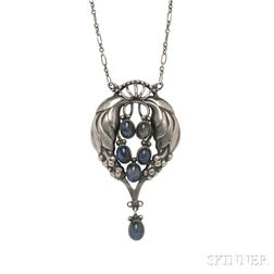 .830 Silver and Labradorite Pendant Necklace, Georg Jensen