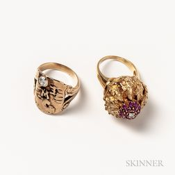 Two Gold Gem-set Rings