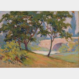 Attributed to Arthur Wesley Dow (American, 1857-1922)      Lot of Two Landscape Sketches