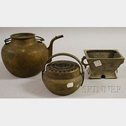 Two Chinese Metal Incense Burners and a Brass Teapot