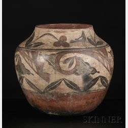 Large Southwest Polychrome Pottery Storage Jar