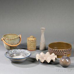 Seven Scandinavian Pottery Items