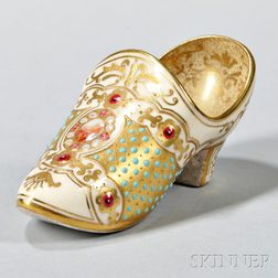 Jeweled Coalport Porcelain Slipper