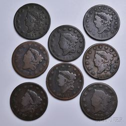 Eight Coronet Head Large Cents