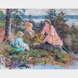 Isabelle H. Ferry (American, 1865-1937)      Three Children on a Woodland Shore