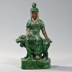 Green-glazed Pottery Figure of Guanyin