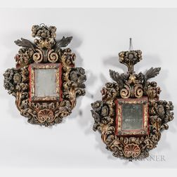 Pair of Baroque-style Carved Painted Mirrors