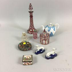 Nine Decorative Glass and Ceramic Items