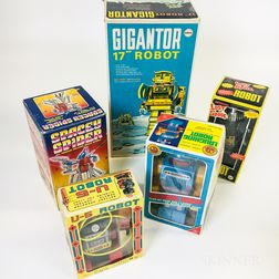 Five Battery-operated Robot Toys