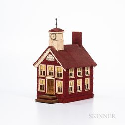 Red-painted Court House Model
