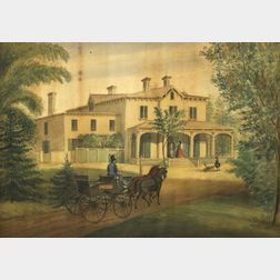 American School, 19th Century    Portrait of a House with Figures and a Carriage.