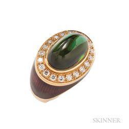 18kt Gold, Green Tourmaline, Diamond, and Enamel Ring, William Lowe