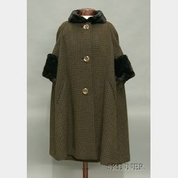 Vintage Ben Zuckerman Fur Trimmed Brown and Black Boucle Wool Ensemble