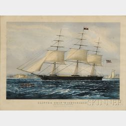 """Nathaniel Currier, publisher (American, 1813-1888)      CLIPPER SHIP """"NIGHTINGALE.,"""""""