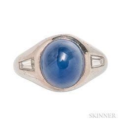 Platinum, Star Sapphire, and Diamond Ring
