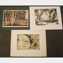"Lot of Three Landscape Etchings:      Walter Ronald Locke (American, 1883-1983), ""Along the Beaverkill"" N.Y."