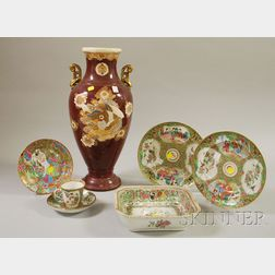 Six Pieces of Chinese Export Porcelain Rose Mandarin Tableware and a Late Satsuma   Vase
