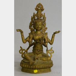 Asian Brass Buddhist Figure Depicting Vishnu Seated