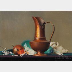 Robert Douglas Hunter (American, b. 1928)      Still Life with a Copper Pitcher
