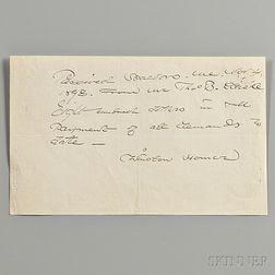 Homer, Winslow (1836-1910) Autograph Receipt Signed, 4 November 1898, Scarborough, Maine.