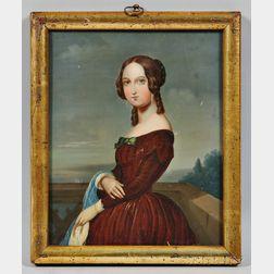 American School, 19th Century,      Portrait of a Woman in a Burgundy Dress.