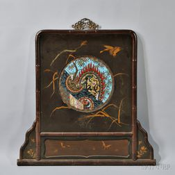 Cloisonne and Wood Screen