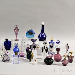 Twenty-eight Art Glass Perfumes including Pairpoint