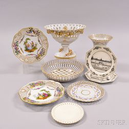Nine Pieces of Continental Pottery and Porcelain