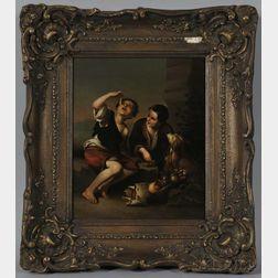 After Bartolomé Esteban Murillo (Spanish, 1618-1682)      Copy of Dos muchachos comiendo de una tartera
