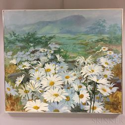 Framed Robert W. Dailey Oil on Panel Depicting Daisies