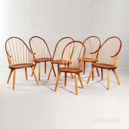 Six Thomas Moser Cherry Dining Chairs