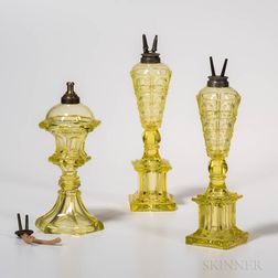 Three Canary Pressed Glass Sandwich Fluid Lamps