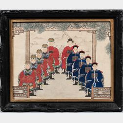 Chinese School, 19th Century      Portrait of Ten Scholars in Red and Blue Robes