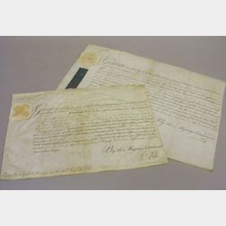 Two George III of Great Britain Signed Commissions on Vellum