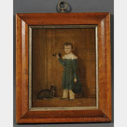 American School, 19th Century      Small Portrait of a Boy Opening a Door, with His Tiger Cat Waiting