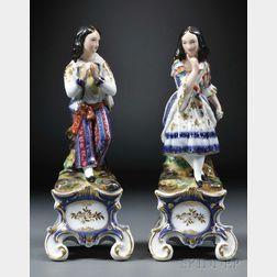 Pair of Jacob Petit-style Paris Porcelain Figural Scent Bottles