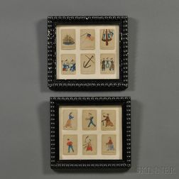 """Two Frames with Twelve Hand-painted Playing Cards for """"H.M.S. Pinafore""""   Card Game"""