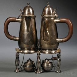 Pair of Britannia Silver Warming Pots on Joined Stand