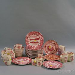 Group of Red and White Transfer-decorated Tableware