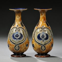 Pair of Royal Doulton Francis Pope Decorated Stoneware Vases