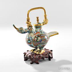 Cloisonne Duck-shaped Ewer
