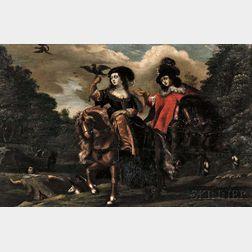 Continental School, 17th/18th Century      Falconers on Horseback
