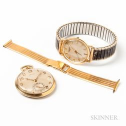 Two 14kt Gold Watches and an 18kt Gold Wristwatch Band