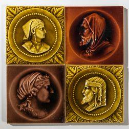 Four Kensington Art Tile Co. Art Pottery Tiles