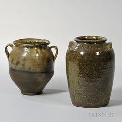 Two Green-glazed Stoneware Jars